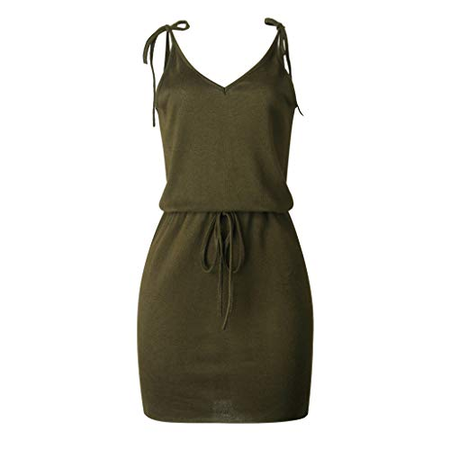 iLOOSKR Casual Dresses for Women Summer V Neck Backless Sleeveless Dress Evening Party Dress Army Green -