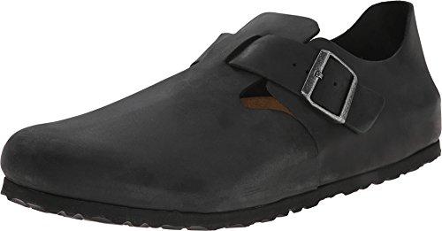 Birkenstock Unisex London Clog Adjustable Strap Slip On Loafer Shoe, Black Oiled Leather, 40