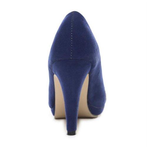 Helt Nya Mode Nubuck Kvinna Pumpa Höga Klackar Peep Toe Sandals Skor Blå