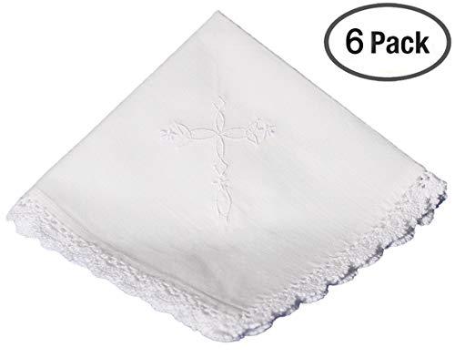 Cotton Christening Hankie Handkerchief Heirloom with Embroidered Cross - 6 -