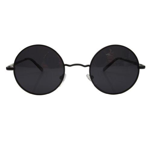 ae17f2e23a9 FSK Unisex Vintage Round Circle Sunglasses Metal Frame Polarized Lens  (Black frame Gray lens)  Amazon.co.uk  Clothing