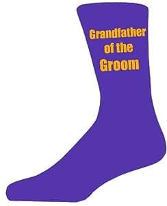 Purple Wedding Socks with Yellow Grandfather of The Groom Title. Adult size UK 6-12 Euro 39-49