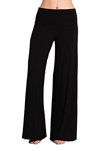 HEYHUN Plus Size Womens Tie Dye Solid Wide Leg Bottom Boho Hippie Lounge Palazzo Pants - Black - ()