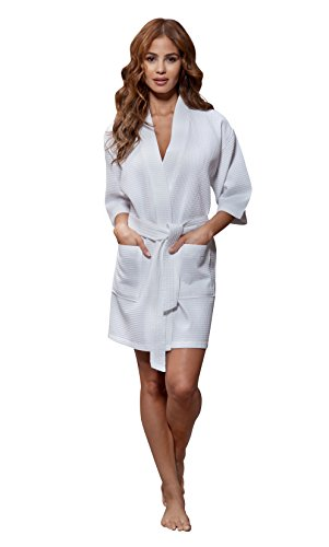 La La Spa Robe - Turquaz Linen Lightweight Knee Length Waffle Kimono Bridesmaids Spa Robe (Small/Medium, White)