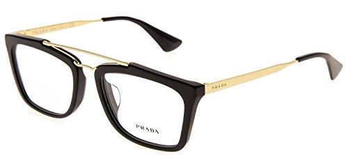 PRADA CINEMA PR18QVF Gold Black Eyeglasses RX Optical Frame Asian Fit 53 mm 18Q - Gold Prada