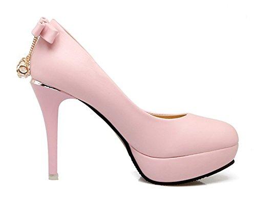 Zehen Aisun Runde Schleife mit Anhänger Plateau Klassisch Pink Pumps Low Stiletto Damen Top rHFFAqntx