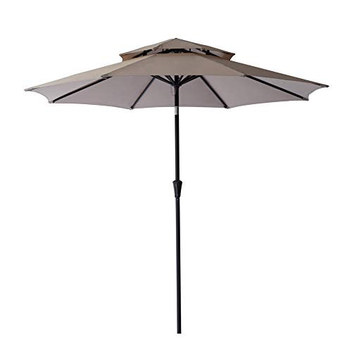 C-Hopetree 9ft Double Top Patio Market Outdoor Umbrella for Outside Balcony Deck Garden or Poolside with Tilt and Crank, Beige