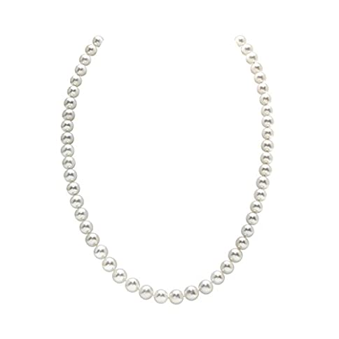 - 31eWLAw7P8L - THE PEARL SOURCE 14K Gold AAA Quality Round White Freshwater Cultured Pearl Necklace for Women in 18″ Princess Length
