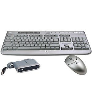 hp compaq 5187urf2 wireless keyboard optical mouse silver black computers. Black Bedroom Furniture Sets. Home Design Ideas