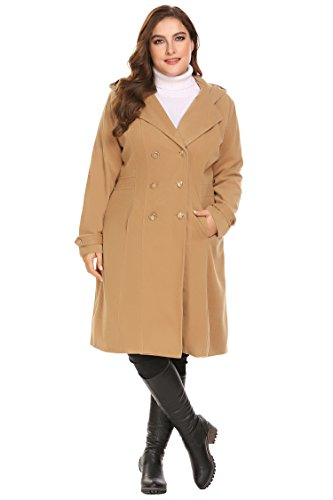 Zeagoo Women Plus Size Double Breasted Wool Elegant Long Lined Lightweight Trench Coat (16W-24W) by Zeagoo (Image #4)'