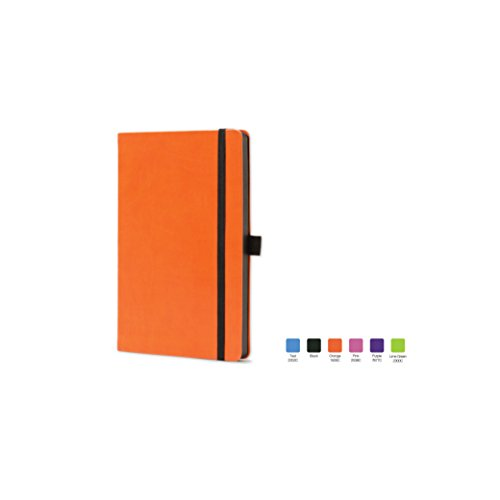 CALYPSO Ruled, Flexicover Notebook Journal with Premium Paper, 192 Lined Pages, Pen loop, Bookmark ribbon, Gusseted back pocket, Orange Cover, Size 5.5