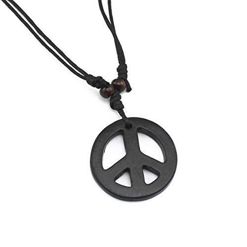 Handmade Adjustable Love Peace Sign Hippie Pendant Necklace Vintage Rope Chain Resin Weave Jewelry-Black ()