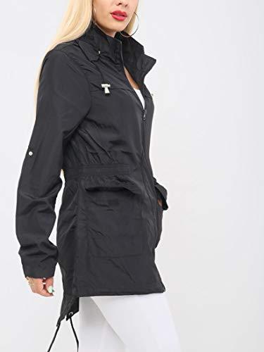 Ss7 Para Impermeable Abrigo Negro Mujer OwrOFqE1