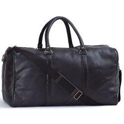 "EmbassyTM Black 21"" Hand-sewn Pebble Grain Genuine Leather Duffle"
