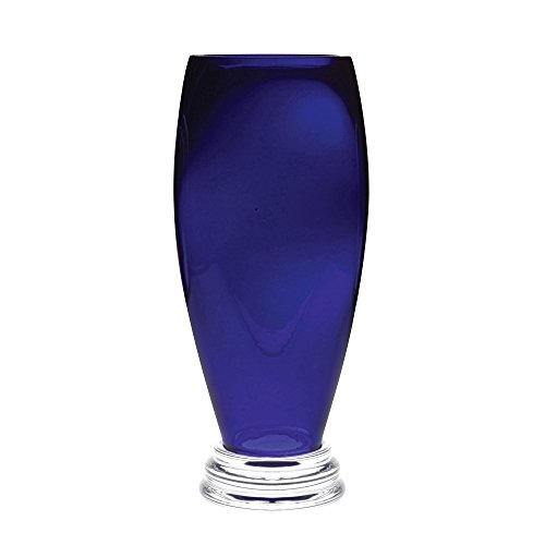 Barski - Handmade Glass - Footed Round Vase - Cobalt - 12