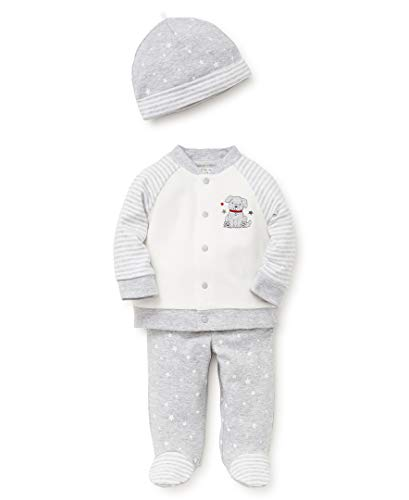 Little Me Baby Boys Cardigan Set, Puppy Star Soft Heather Grey/Marshmallow, 6 Months