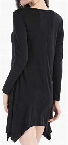 Slim Women Long Hem Midi Irregular Sleeve Domple Fit Black Solid Dress Crewneck 5Iw6dqWx0
