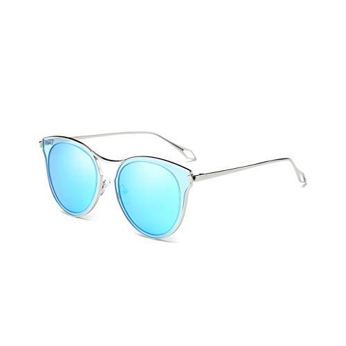 (2020Ventiventi Womens Silver Frame/Blue Revo Lens Cateye 65mm Metal Hollow Polarized Stainless Steel Sunglasses)