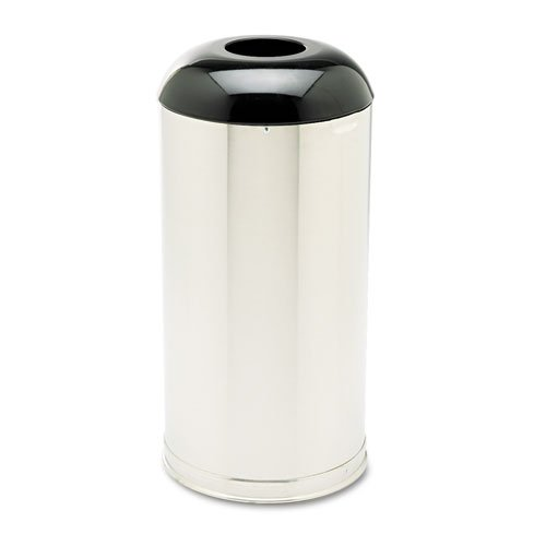 European & Metallic Drop-In Dome Top Receptacle, Round, 15 gal, Satin