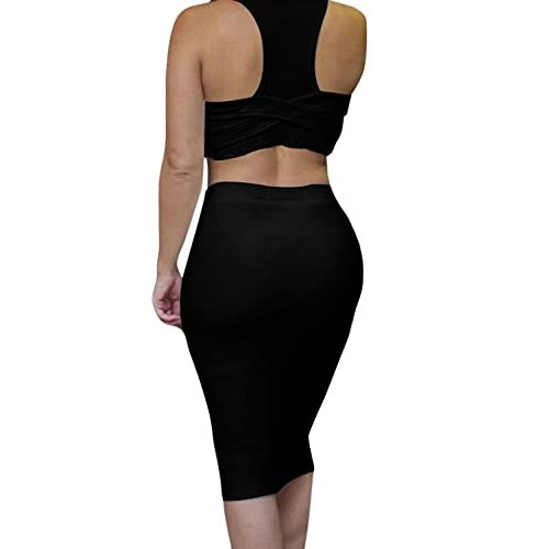 9f74e58312 30%OFF Knight horse Womens Crop Top Midi Skirt Outfit Two Piece Bodycon  Bandage Dress