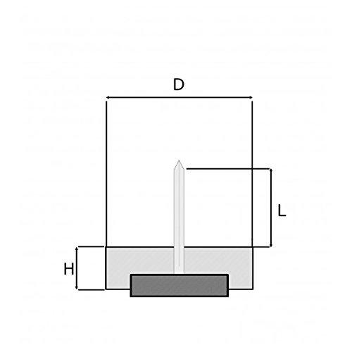 Lot de 16 pi/èces FFI224 Patin glisseur /à clouer diam Ajile/® 24 mm pour USAGE INTENSIF en plastique BLANC et feutre /ÉCRU