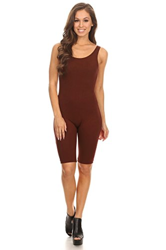 Stretch Cotton Bodysuit Women Sleeveless Stretch Cotton Skinny Solid Knee Length Sport Active Unitard Bodysuit (& Plus) (Small, Brown_Seller)