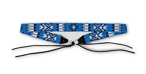 (Mayan Arts Hat Band, Hatbands for Men and Women, Leather Straps, Cowboy Beaded Bands, White, Blue Paisley, Handmade in Guatemala 7/8