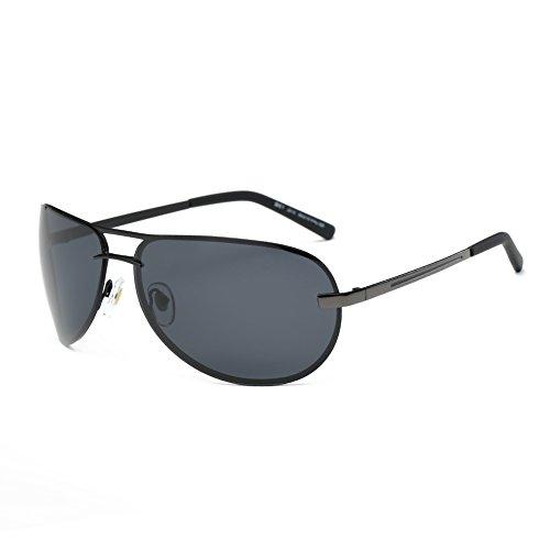 DONNA Unisex Oversized Polarized Sports Sunglasses with Wrap Around Lens Unbreakable Frame Double Bridge for Golf Motorcycle Fishing Running D61(Black Lens/Matte Black - Aviator Around Wrap Sunglasses