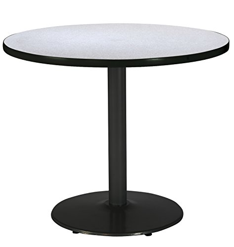 KFI Seating Round Black Base Pedestal Table with Top, Grey Nebula, 36'' by KFI Seating (Image #1)