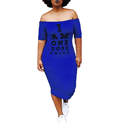Rexinte Women Party Summer Dress Off Shoulder Pencil Bodycon Dresses Print Knee Length Gown(Blue,L