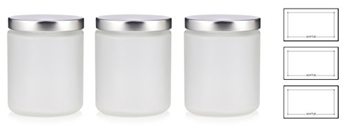 Large Clear Frosted Glass Straight Sided Jar with Silver Metal Lids - 8 oz / 240 ml (3 pack) + Labels