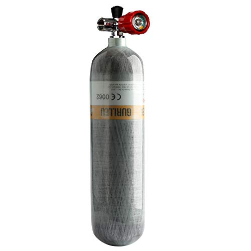 Gurlleu 3L PCP Paintball Air Tank 4500psi CE Approved Carbon Fiber Cylinder with Regulator Gauge (Empty Bottle) (3L Tank + Red Vavle) ()