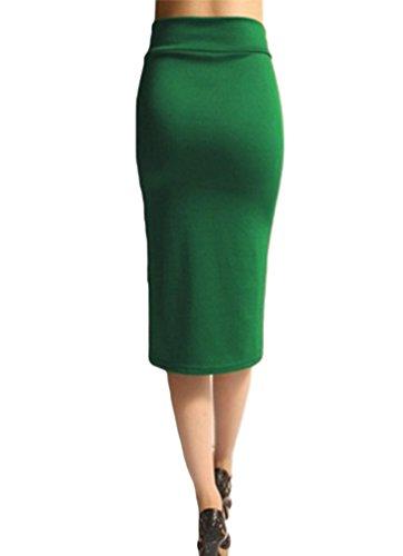 YuanDian Mujer Verano Color Sólido Ajustado Midi Faldas Alto Cintura Bodycon Tubo Lapiz Faldas Verde