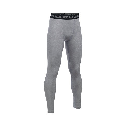 Under Armour Boys' ColdGear Armour Leggings, True Gray Heather/Reflective, Youth X-Small