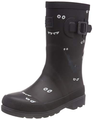 Joules Kids Baby Boy's Printed Welly Rain Boot (Toddler/Little Kid/Big Kid) Dark Grey Eyes and Bats 4 M US Big Kid M