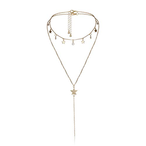 Salircon Heart Locket Pendant Necklaces Set Layered Star Bead Love Pendant Choker for Couples