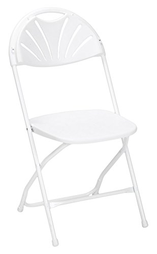 ZOWN Premium Commercial Fan Back Banquet Folding Chair, White, 8 - Back Folding Chair