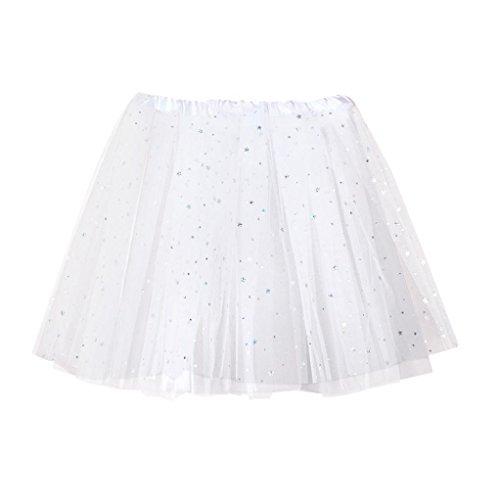 Pleated Skirt White Sequin (Fiaya Womens Star Sequins Gauze Short Pleated Skirt Adult Tutu Dancing Skirt (White))
