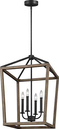 Gannet Wood Lantern Pendant Lighting, Brown, 4-Light (18
