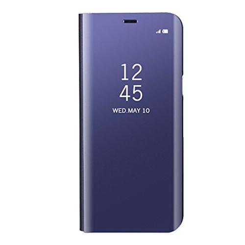 Funda Samsung Galaxy S8 Plus, Visión Clara Pie Smart Cover Soporte Mirror Protección Completa Rígida Borde ,Sunroyal Multifuncional Cubierta del espejo Permite ver Claramente la Clear Standing Flip Co Púrpura