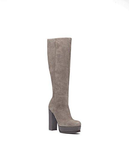 PoiLei Romy - Damen-Schuhe / exklusive Plateau-Stiefel aus Echt-Leder - mit High-Heel Block-Absatz und schöner Ziernaht im Seventees-Style - taupe
