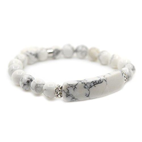 Natural Stone Bracelet (Natural White Howlite Gem Semi Precious Gemstone Love Heart Charm Stretch Bracelet)