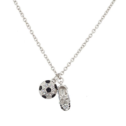 Lux Accessories Soccer Ball and Sneaker Sports Charm Necklace -