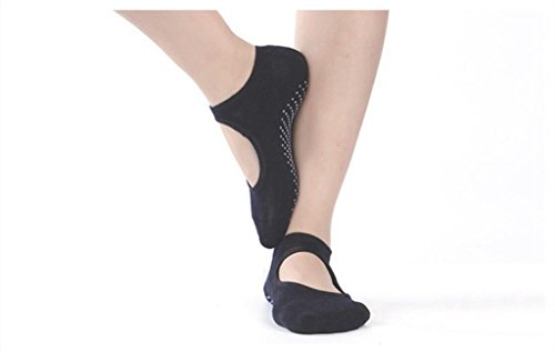 Yoga-Pilates Gazelle Trading Socks Massage Fitness Non-Slip Ankle Socks One Size Various colors (Open front-Black)