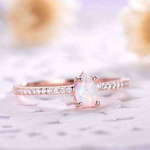 Opal Silver 14k Rose Gold Engagement Ring CZ Diamond Art Deco Filigree Vintage Eternity Solitaire Birthstone Promise Anniversary Gift Bridal