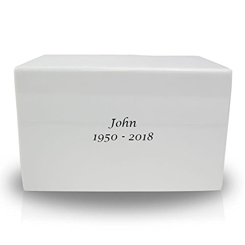 OneWorld Memorials Box Wood Cremation Urn Box - Large White Urns for Human Ashes - Custom Engraving Included