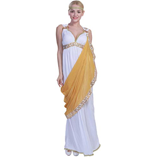 EraSpooky Women's Halloween Greek Goddess Costume Toga Robe Adult Angel Costume for Women - Funny Cosplay Party ()