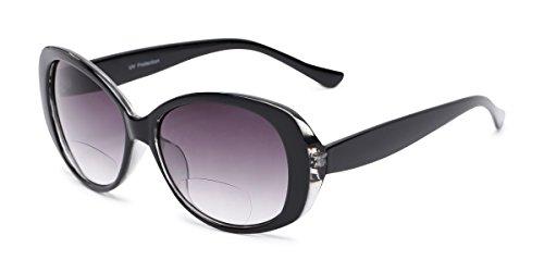 Readers.com Bifocal Reading Sunglasses: The Olive, Oversized Stylish Cat Eye Bifocal Sunglass Readers for Women - Black with Smoke, 2.50