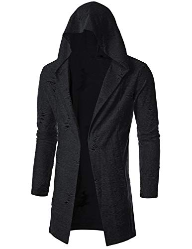 GIVON Mens Long Sleeve Draped Lightweight Open Front Longline Hooded Cardigan/DCC155-BLACK-M