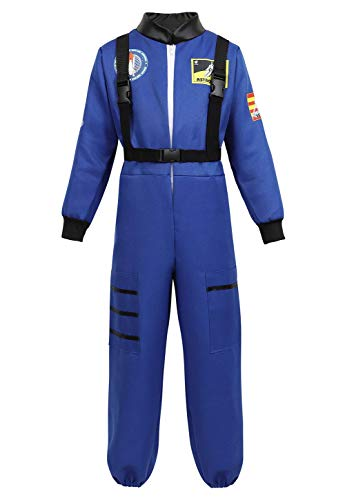 Grebrafan Astronaut Kids Halloween Costumes for Boys Girls Space Suit Childrens Cosplay Outfit (Medium, Blue)